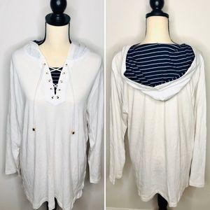 Jones New York White/Navy Hooded Sweatshirt Sz 2X
